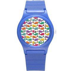 Small Rainbow Whales Round Plastic Sport Watch (s) by Simbadda