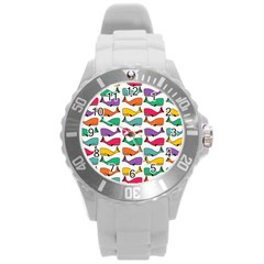 Small Rainbow Whales Round Plastic Sport Watch (L)