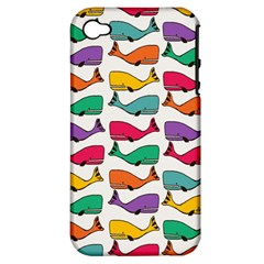 Small Rainbow Whales Apple Iphone 4/4s Hardshell Case (pc+silicone) by Simbadda