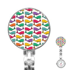 Small Rainbow Whales Stainless Steel Nurses Watch by Simbadda
