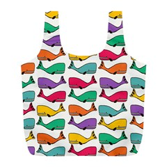 Small Rainbow Whales Full Print Recycle Bags (l)  by Simbadda