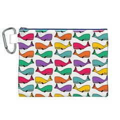Small Rainbow Whales Canvas Cosmetic Bag (xl) by Simbadda