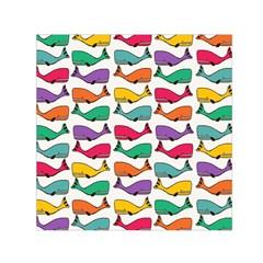 Small Rainbow Whales Small Satin Scarf (square) by Simbadda