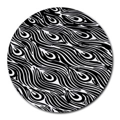 Digitally Created Peacock Feather Pattern In Black And White Round Mousepads by Simbadda