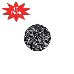Digitally Created Peacock Feather Pattern In Black And White 1  Mini Buttons (10 Pack)  by Simbadda