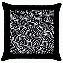 Digitally Created Peacock Feather Pattern In Black And White Throw Pillow Case (black) by Simbadda