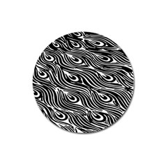 Digitally Created Peacock Feather Pattern In Black And White Magnet 3  (round) by Simbadda