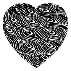Digitally Created Peacock Feather Pattern In Black And White Jigsaw Puzzle (heart) by Simbadda