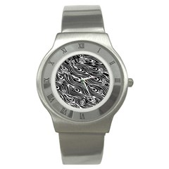 Digitally Created Peacock Feather Pattern In Black And White Stainless Steel Watch by Simbadda