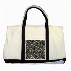 Digitally Created Peacock Feather Pattern In Black And White Two Tone Tote Bag by Simbadda