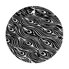 Digitally Created Peacock Feather Pattern In Black And White Round Ornament (two Sides) by Simbadda