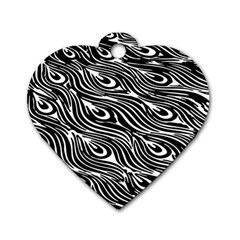 Digitally Created Peacock Feather Pattern In Black And White Dog Tag Heart (one Side) by Simbadda