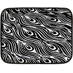 Digitally Created Peacock Feather Pattern In Black And White Double Sided Fleece Blanket (mini)  by Simbadda