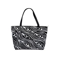 Digitally Created Peacock Feather Pattern In Black And White Shoulder Handbags by Simbadda