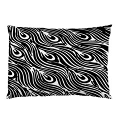 Digitally Created Peacock Feather Pattern In Black And White Pillow Case (two Sides) by Simbadda