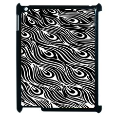 Digitally Created Peacock Feather Pattern In Black And White Apple Ipad 2 Case (black) by Simbadda