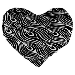 Digitally Created Peacock Feather Pattern In Black And White Large 19  Premium Heart Shape Cushions by Simbadda