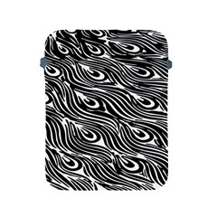 Digitally Created Peacock Feather Pattern In Black And White Apple Ipad 2/3/4 Protective Soft Cases by Simbadda