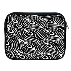 Digitally Created Peacock Feather Pattern In Black And White Apple Ipad 2/3/4 Zipper Cases by Simbadda