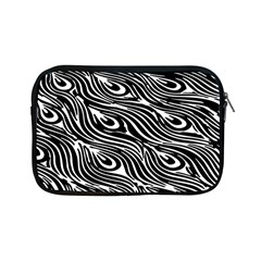 Digitally Created Peacock Feather Pattern In Black And White Apple Ipad Mini Zipper Cases by Simbadda
