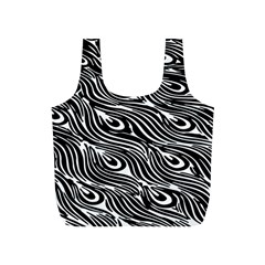 Digitally Created Peacock Feather Pattern In Black And White Full Print Recycle Bags (s)  by Simbadda