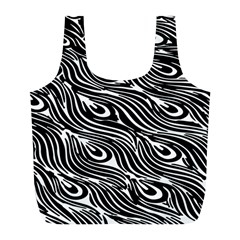 Digitally Created Peacock Feather Pattern In Black And White Full Print Recycle Bags (l)  by Simbadda
