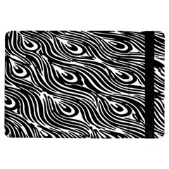 Digitally Created Peacock Feather Pattern In Black And White Ipad Air Flip by Simbadda