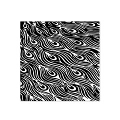 Digitally Created Peacock Feather Pattern In Black And White Satin Bandana Scarf by Simbadda