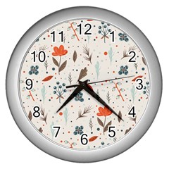 Seamless Floral Patterns  Wall Clocks (silver)  by TastefulDesigns