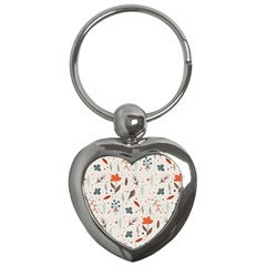 Seamless Floral Patterns  Key Chains (heart)  by TastefulDesigns