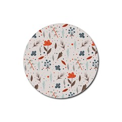 Seamless Floral Patterns  Rubber Coaster (round)  by TastefulDesigns