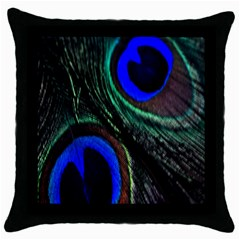 Peacock Feather Throw Pillow Case (black) by Simbadda