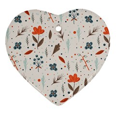 Seamless Floral Patterns  Heart Ornament (two Sides) by TastefulDesigns