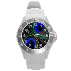 Peacock Feather Round Plastic Sport Watch (l) by Simbadda