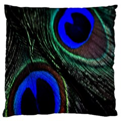 Peacock Feather Large Cushion Case (two Sides) by Simbadda