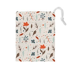 Seamless Floral Patterns  Drawstring Pouches (large)  by TastefulDesigns
