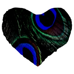 Peacock Feather Large 19  Premium Flano Heart Shape Cushions by Simbadda