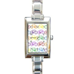 Rainbow Colors Bright Colorful Bicycles Wallpaper Background Rectangle Italian Charm Watch by Simbadda