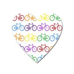 Rainbow Colors Bright Colorful Bicycles Wallpaper Background Heart Magnet by Simbadda