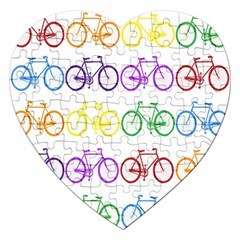 Rainbow Colors Bright Colorful Bicycles Wallpaper Background Jigsaw Puzzle (heart) by Simbadda