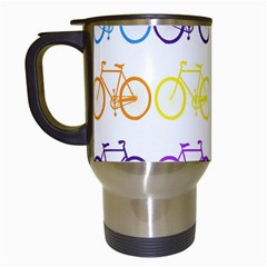 Rainbow Colors Bright Colorful Bicycles Wallpaper Background Travel Mugs (white) by Simbadda