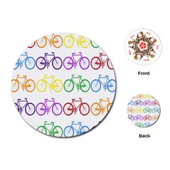 Rainbow Colors Bright Colorful Bicycles Wallpaper Background Playing Cards (round)  by Simbadda