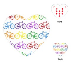 Rainbow Colors Bright Colorful Bicycles Wallpaper Background Playing Cards (heart)  by Simbadda
