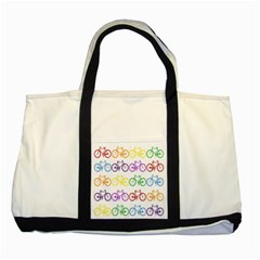 Rainbow Colors Bright Colorful Bicycles Wallpaper Background Two Tone Tote Bag by Simbadda