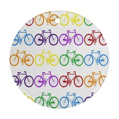 Rainbow Colors Bright Colorful Bicycles Wallpaper Background Round Ornament (two Sides) by Simbadda