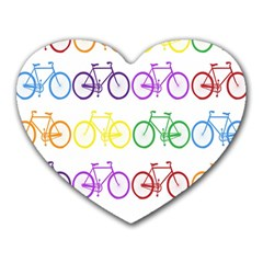 Rainbow Colors Bright Colorful Bicycles Wallpaper Background Heart Mousepads by Simbadda