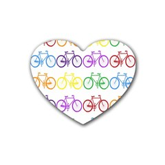 Rainbow Colors Bright Colorful Bicycles Wallpaper Background Rubber Coaster (heart)  by Simbadda