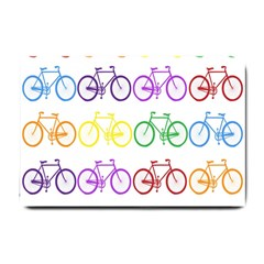 Rainbow Colors Bright Colorful Bicycles Wallpaper Background Small Doormat  by Simbadda