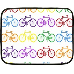 Rainbow Colors Bright Colorful Bicycles Wallpaper Background Fleece Blanket (mini) by Simbadda