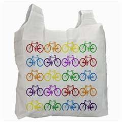 Rainbow Colors Bright Colorful Bicycles Wallpaper Background Recycle Bag (one Side) by Simbadda